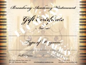 Gift certificate Broadway Academy Westmount