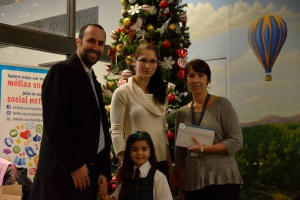 From the left: Our Broadway steps student - Chaira Boccardii with her father, Martina Oslejskova (Director Broadway Academy Westmount) and Marie-France Haineault (Professional Coordinator, Child Life Services)